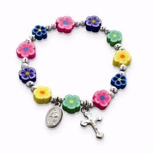 Multi-Color Fimo Bead Cross Stretch Bracelet